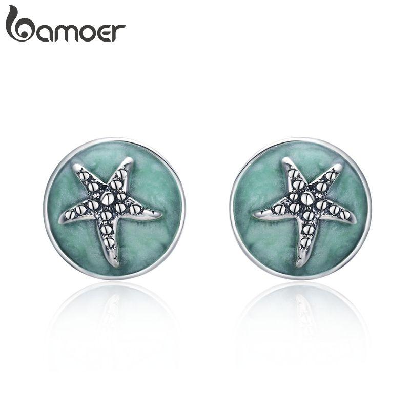 BAMOER 100% 925 Sterling Silber Fantasie Starfish Runde Kleine Stud Ohrringe für Frauen Klar CZ Mode Ohrringe Schmuck SCE205