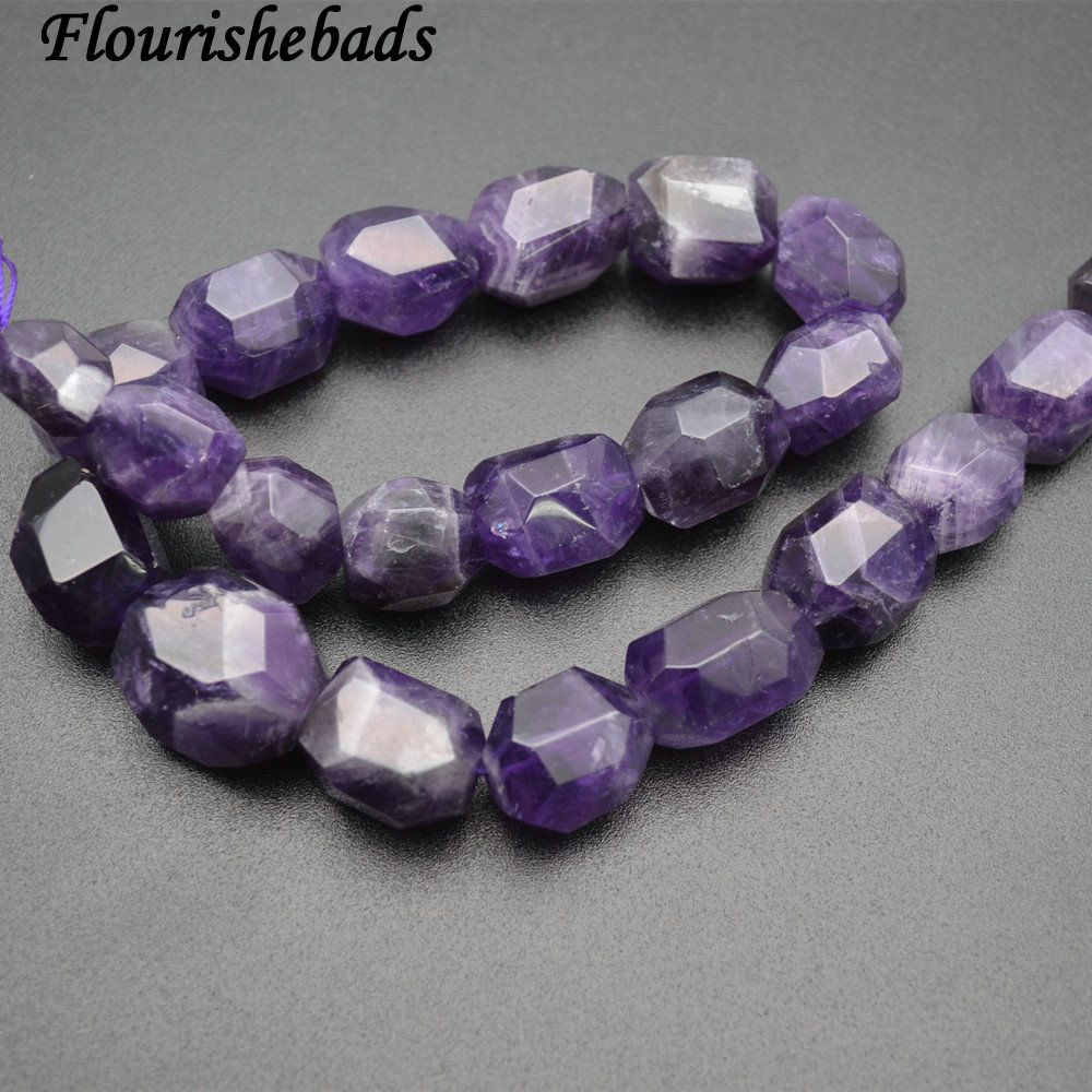 Natural Amethyst Surface Cutting Big Nugget 13x18mm Irregular Tube Stone Loose Beads