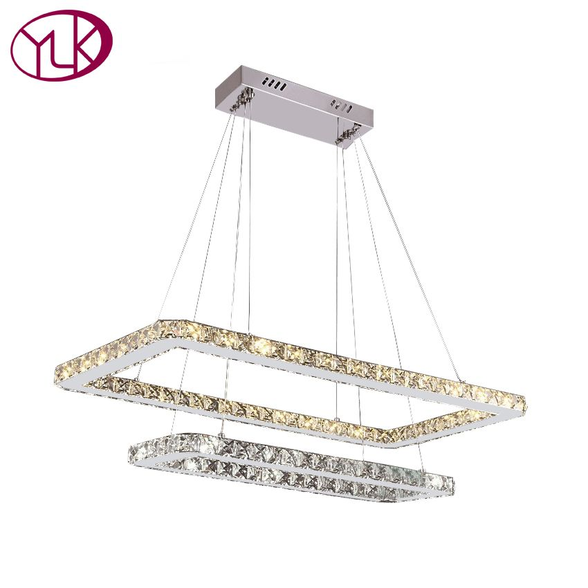 Youlaike Modern LED Crystal Chandelier Dining Room Two Layers Hanging Light Fixtures Lustres De Cristal