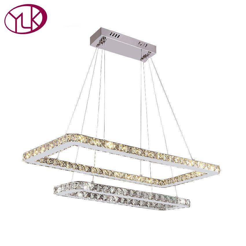 Youlaike Modern LED Crystal Chandelier Dining Room Two Layers Hanging Light Fixtures Lustres De Cristal