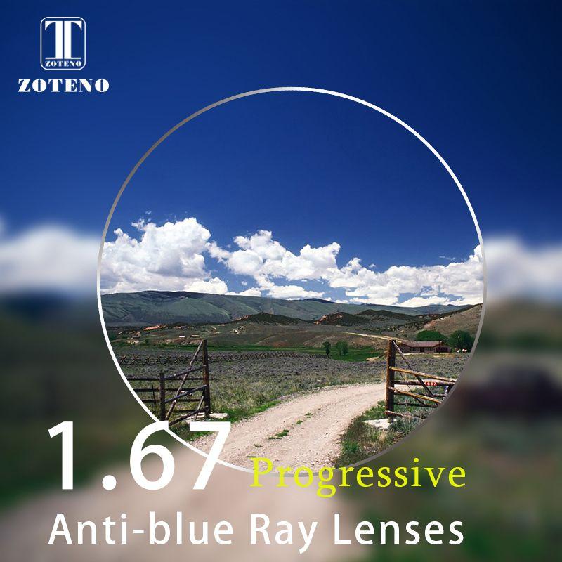 1,67 Index Progressive Anti-blue ray Linsen Monofocal Vision Myopie Hyperopie Presbyopie Optische Brillen Objektiv