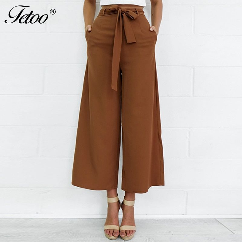 Fetoo 2017 Fashion Women Pants <font><b>Wide</b></font> Leg Pants with Belt Ankle-Length Trousers Women Capri Loose Casual Pants S-XL Brown Black