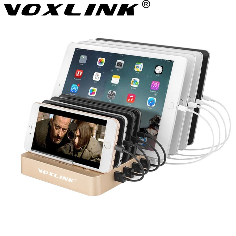 VOXLINK Quick Charge 3.0 8 Ports Charging Station 5V 12A USB Desktop Charger With Stand Holder For iPhone iPad Huawei LG Samsung