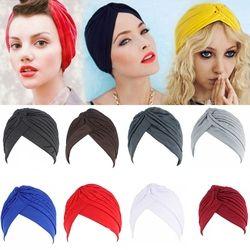 Femmes Hommes Turban Head Wrap Bande Chimio Bandana Hijab Plissé Cap Indien