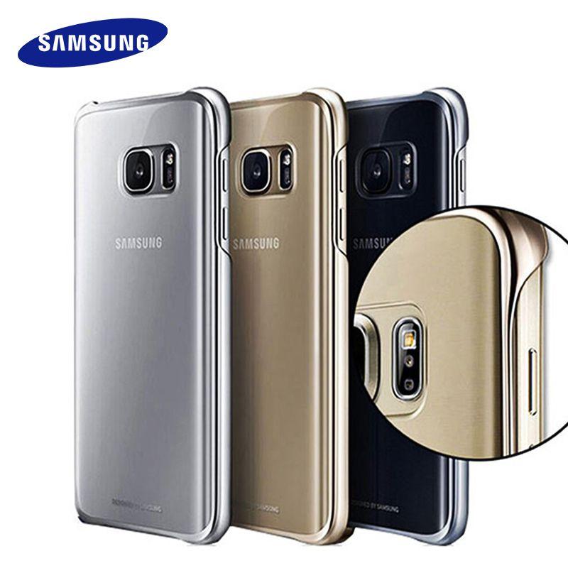 100% Оригинальные Samsung S7 S7 Edge чехол прозрачной защитной оболочки Ultra Slim задняя Защитный чехол для Samsung S7 прозрачная крышка