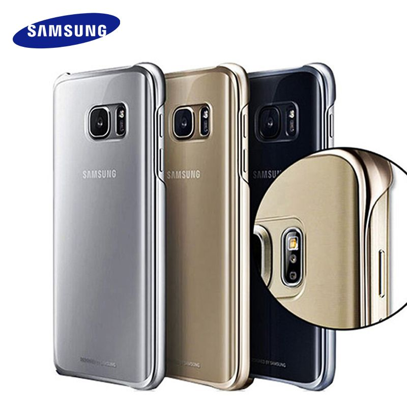 100% D'origine Samsung S7 S7 Bord Cas Transparent coque de protection Ultra Slim Retour Étui de protection pour samsung s7 Couvercle Transparent