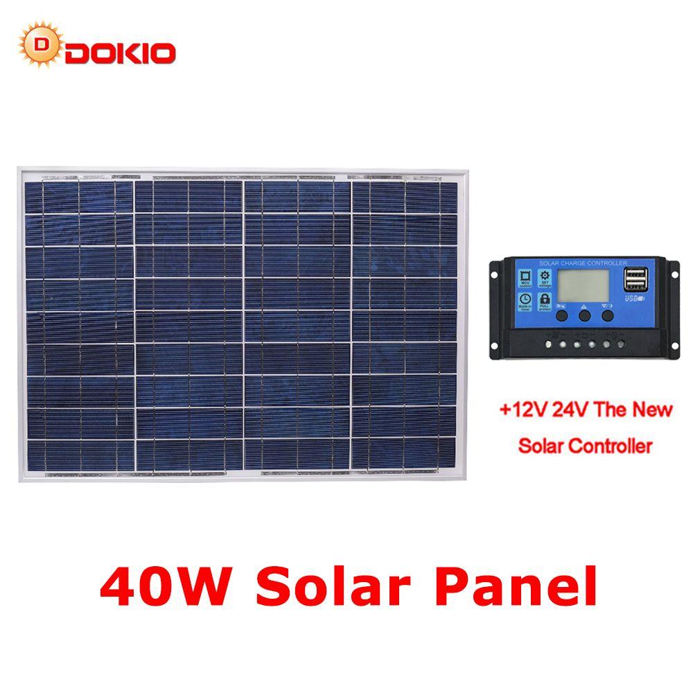 DOKIO 18V 40W Polycrystalline Solar Panel 460*660*25mm Silicon Power Painel Top Quality Solar Battery china Solar Fotovoltaico