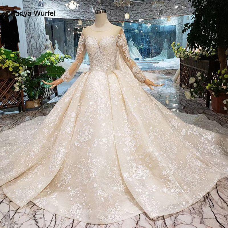LS20479 Einfache vintage Hochzeit Kleid mit hochzeit schleier volle hülse taste zurück o neck champagne braut spitze kleid hochzeit kleid