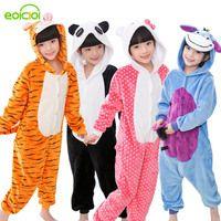 Пижамы для маленьких мальчиков и девочек, осенне-зимняя детская фланелевая теплая Пижама с изображением пингвина, стежка, панды, пижамы с То...
