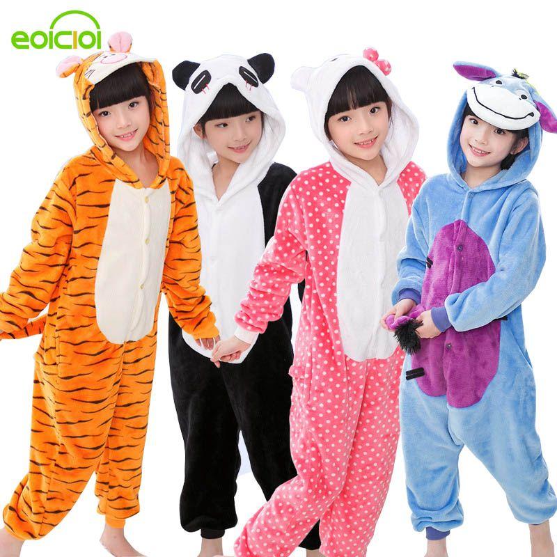Bébé Garçons Filles Pyjamas Automne Hiver Enfants Flanelle Chaud animal pingouin Point panda Onesie Nuit totoro Pyjamas pour Enfants