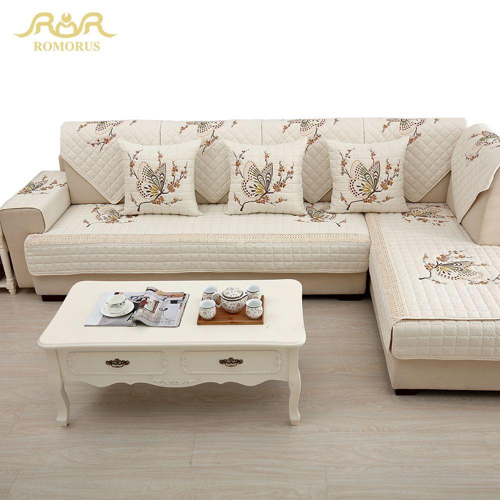 Luxe brodé papillon canapé couvre antidérapant matelassé coin sectionnel canapé couverture housse un/deux/trois siège décoration