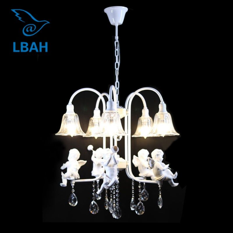 5 head resin angel pendant lamp, wrought iron glass crystal personality angel restaurant bedroom chandeliers