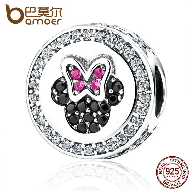BAMOER Classic 925 Sterling Silver Bow Knot Minni Cartoon Bead Charms Fit Bracelets Beads & Jewelry Making PAS381