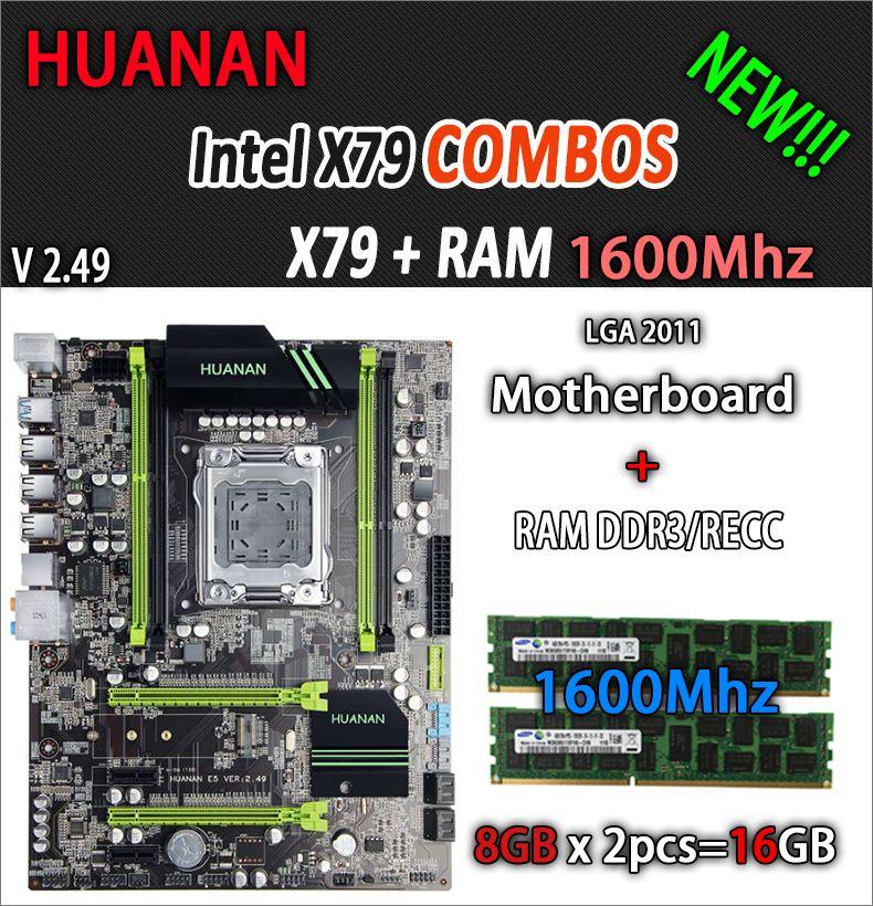 HUANAN golden V2.49 X79 motherboard LGA2011 ATX combos 2 x 8G 1600Mhz 16GB USB3.0 SATA3 PCI-E NVME M.2 SSD port support CPU