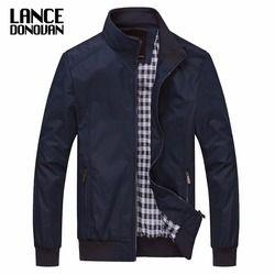 Warna Solid Baru 2019 Kasual M-5XL 6XL Pria Musim Semi Musim Gugur Pakaian Luar Mandarin Kerah