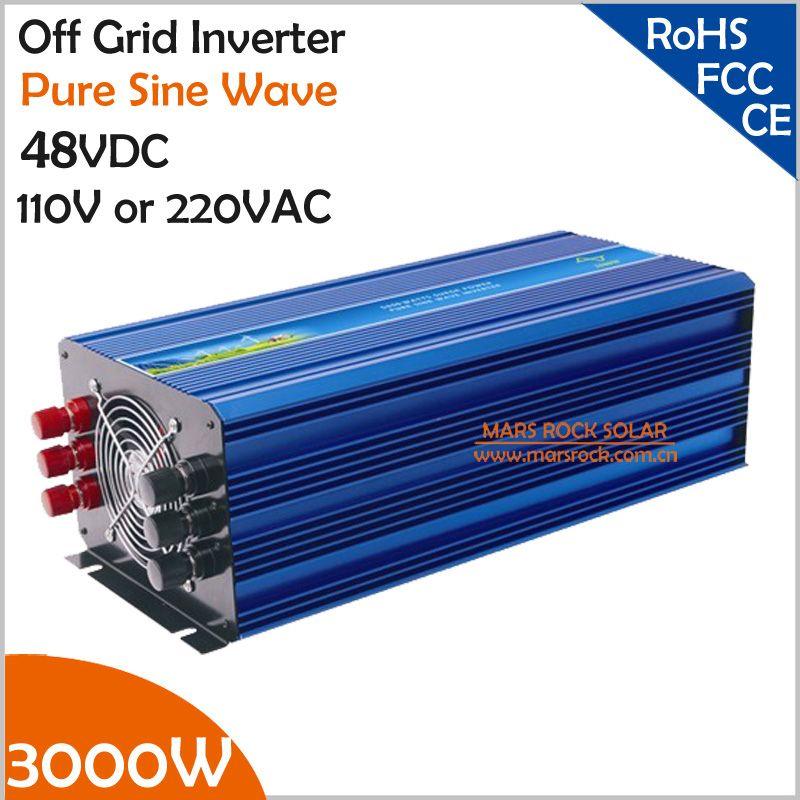3000 Watt Netzferne Reine Sinus-wechselrichter, Solarwechselrichter für 110VAC oder 220VAC Haushaltsgeräte, Spitzenleistung 6000 Watt Pv-wechselrichter