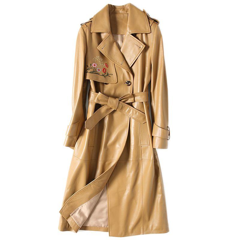Herbst Winter Jacke Frauen Kleidung 2018 Echtem Leder Jacke Frauen Schaffell Mantel Koreanische Elegante Slim Fit Graben Mantel ZT539