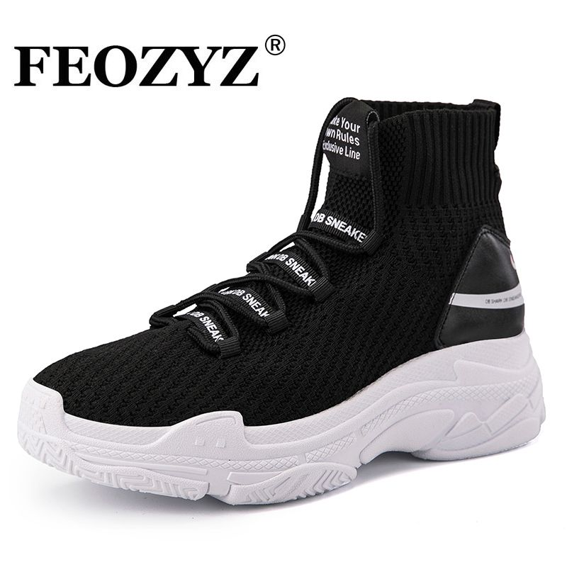 FEOZYZ Requin Sneakers Femmes Hommes Tricot Supérieur Respirant Sport Chaussures Chunky Chaussures High Top Chaussures de Course Pour Hommes Femmes