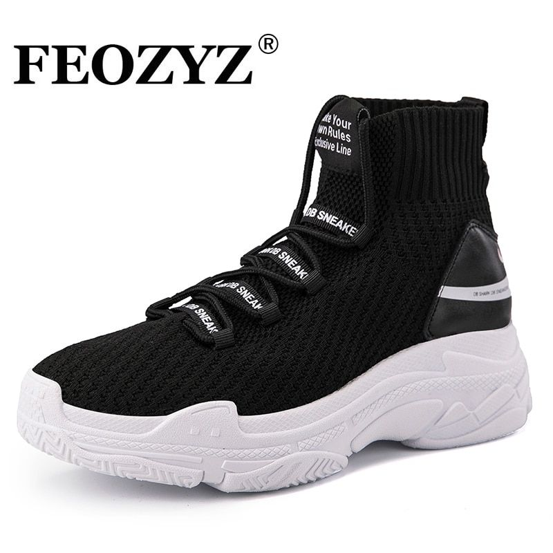 FEOZYZ Shark Sneakers Women Men Knit Upper Breathable Sport Shoes Chunky Shoes High Top Running Shoes For Men Women