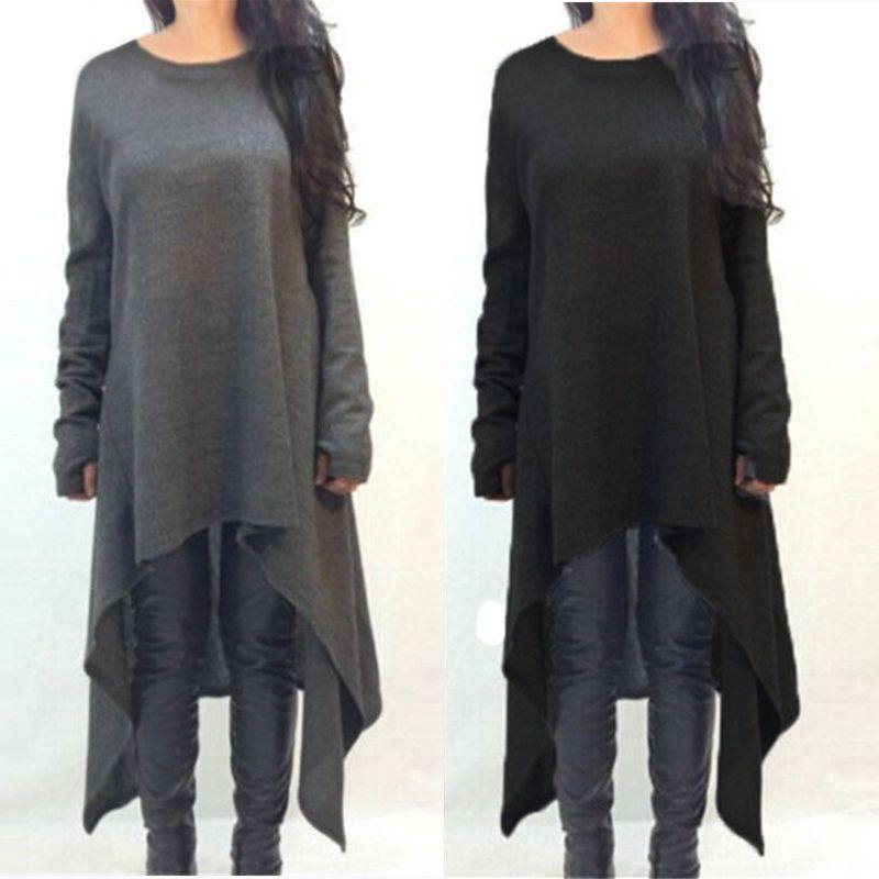 ZANZEA Hiver Chandail Robe Robes 2018 Femmes Dames Tricoté Casual Manches Longues Ourlet Asymétrique mi-mollet Robes Plus La Taille 3XL