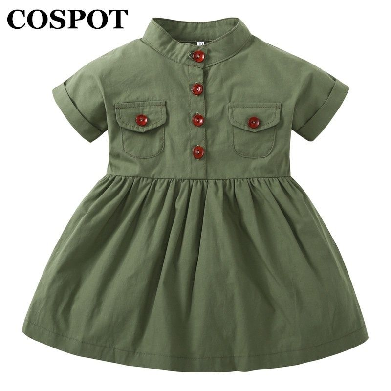 COSPOT 2018 New Baby Girls Dress Army Green Short Sleeved Summer Casual Princess Dresses Summer Children Clothing Baby Dress E50