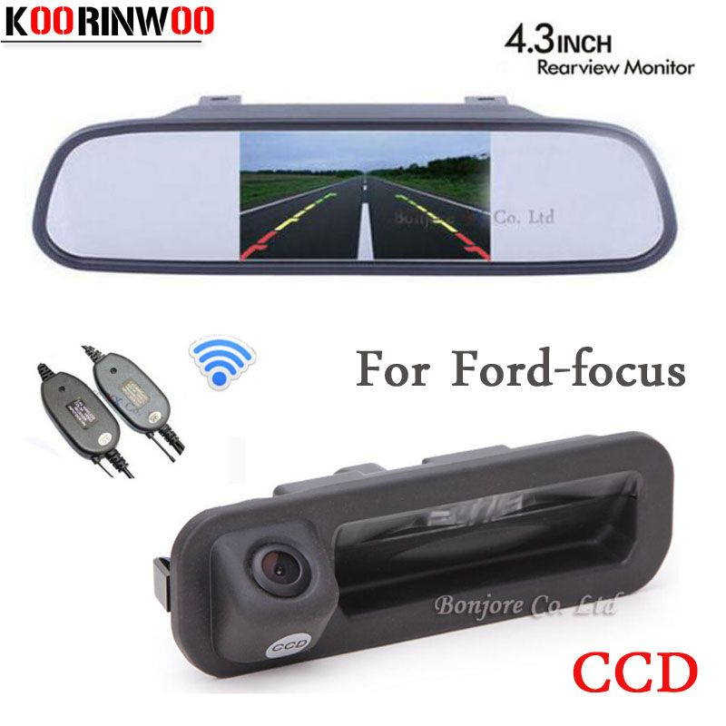 Koorinwoo Parking 4.3 Car Monitor Mirror Video Car rear view Camera Handle Trunk Door Button For Ford/focus 2 3 Hatchback Sedan