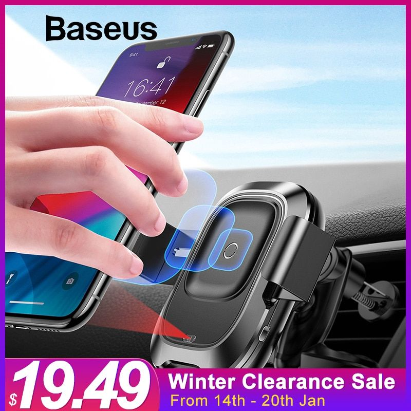 Baseus Car Phone Holder for iPhone XR Intelligent Sensor Car Wireless Charger Universal Air Vent Mount Mobile Phone Holder Stand