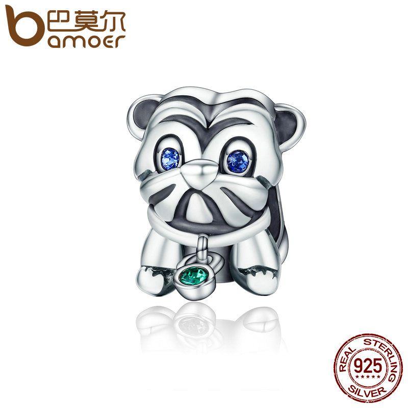Bamoer Аутентичные стерлингового серебра 925 милый щенок животных Мопс Doggy Бусины подходят оригинальный браслет DIY ювелирных подарок scc198