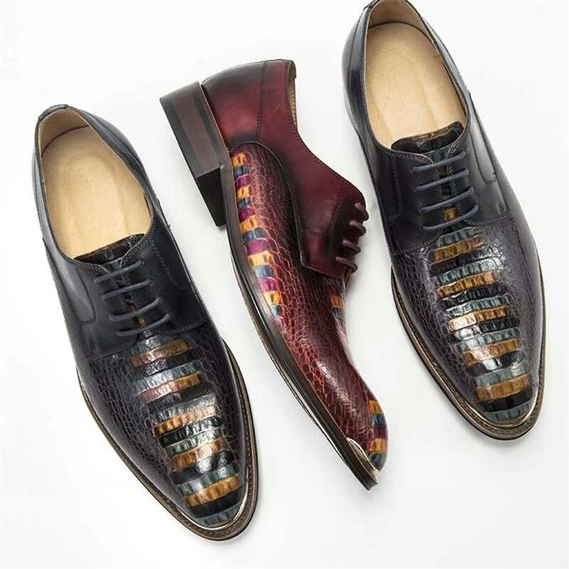 Phenkang Men genuine leather dress shoes men's formal luxury quality wedding shoes oxford business party gentleman leather shoes