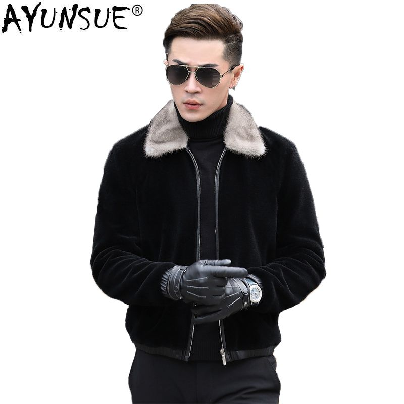 AYUNSUE Sheep Shearing Winter Real Fur Coat Men Grey Mink Fur Collar Short Men's Leather Jacket Wool Coat Plus Size Xxxxl KJ829