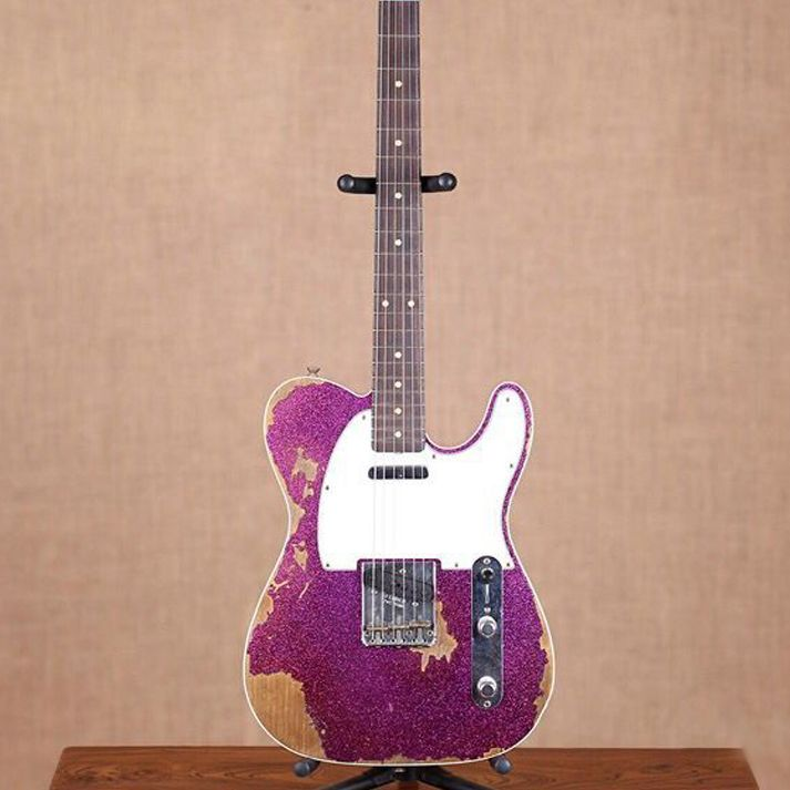 Custom Shop handmade telecast gitaar,purple color Tele electric Guitar relics by hands. master build relic TL guitarra