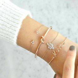 docona 4pcs/1set Gold Color Cactus Letter Knot Bracelet Bohemian Geometric Metal Chain Bracelet Statement Jewelry 6116