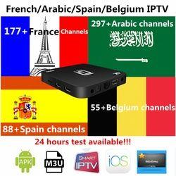 S905 Android tv box 7.1 avec Français Arabe Belgique Espagne Iptv abonnement 1300 en direct + VOD support smart tv m3u ios meilleur tv box