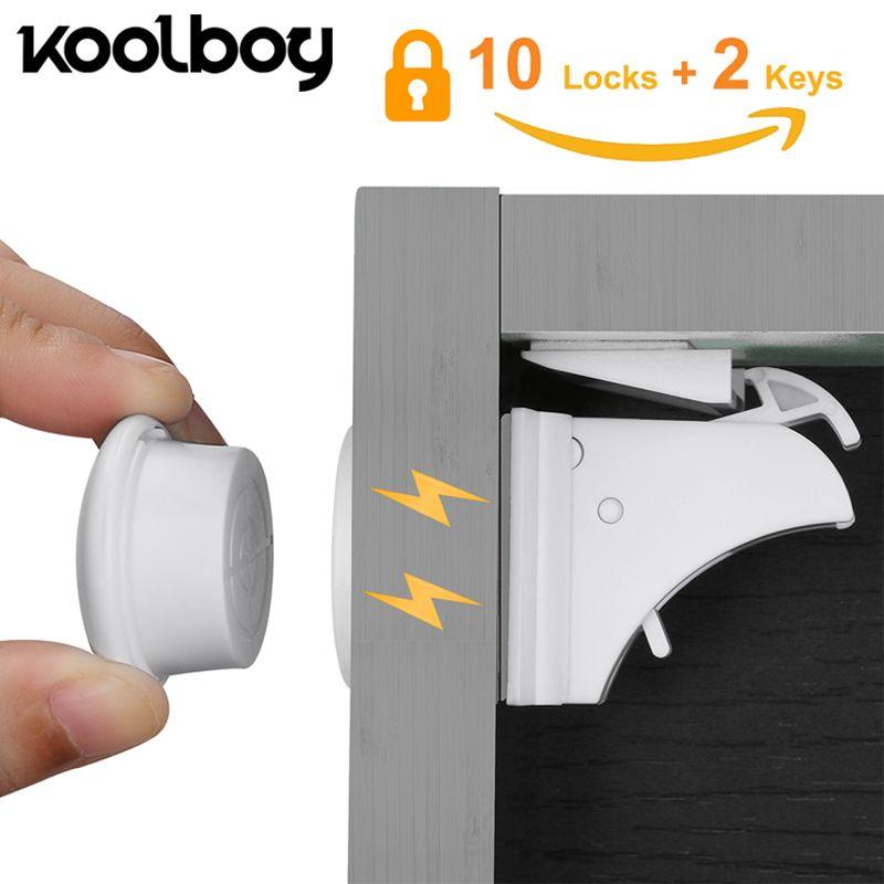 10 Locks 2 Keys Magnetic Cupboard Locks Safety Baby Cabinet Lock Children Protection Kids Drawer Locker Childproof Locks