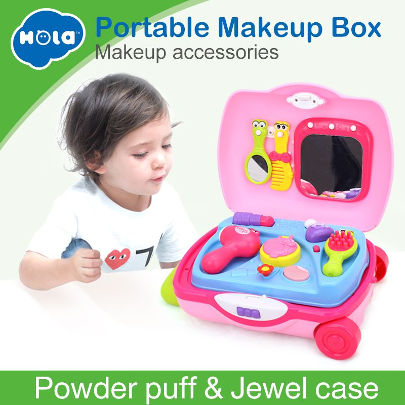 HUILE TOYS 3109 Pretend Play Make-up Dress Toys Luggage Suitcase Toy Set Children Dollhouse Furniture Play House Toys for Girls
