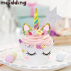 Meidding 24 unids unicornio Rainbow cake toppers + envolturas de la Magdalena decoración de la torta de la fiesta de cumpleaños baby shower unicornio partido suministros