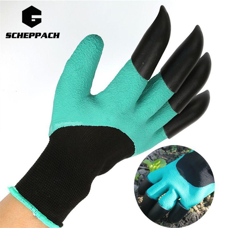 Scheppach Green Garden Digging Gloves with 4 ABS Plastic Claws for garden Digging Planting 1 pair Garden Digging Gloves Tools