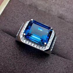 Natural blue topaz gem Cincin S925 Cincin Perak Alami Batu Permata besar mewah Persegi Pria wanita hadiah partai Rings baik perhiasan