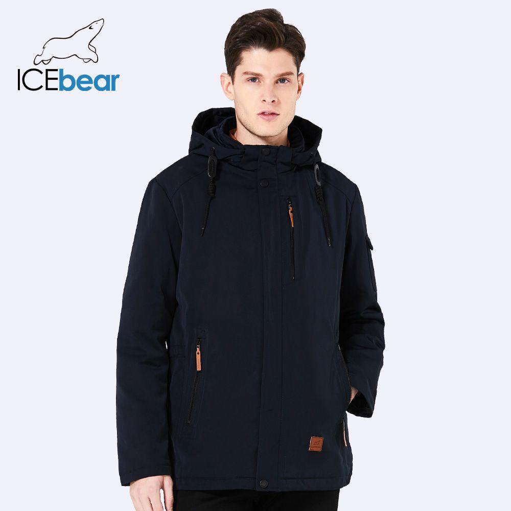 ICEbear 2018 Pocket Zipper Design Men Jacket Spring Autumn New Arrival Casual Fashion Parka Solid Thin Cotton Coat 17MC010D