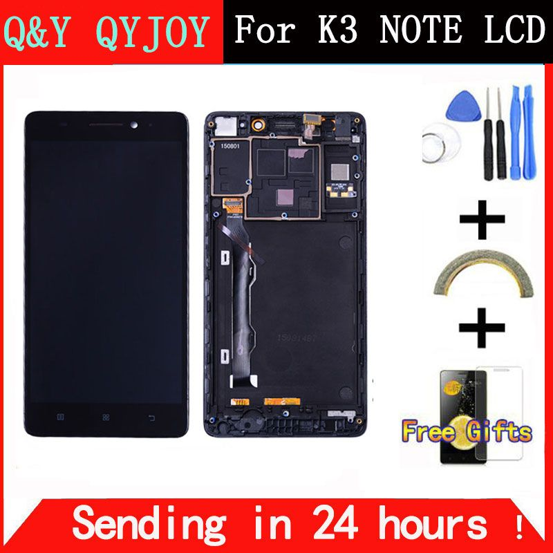 Q&Y QYJOY 5.5 inch For Lenovo K50-T5 K3 Note LCD Display Digitizer Touch Screen assembly replacement with frame black
