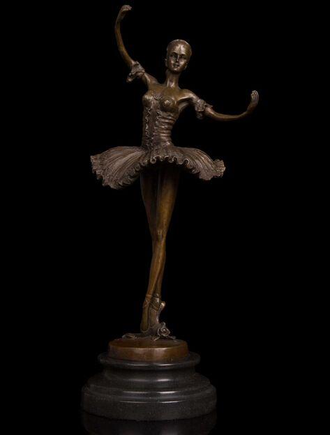 Kupfer Messing handwerk Fabrik kosten abbildung statuen skulptur für home Westlichen Moderne Tänzerin der Ballett-tänzer-malerei Mädchen Meg Skulptur