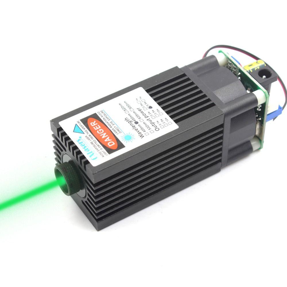OXLasers FOCUSABLE1000mW TTL 520nm Grün laser modul 1 W fokussierbar brennen laser kopf kann gravieren auf dunkle farbe papier 2PIN 12 V