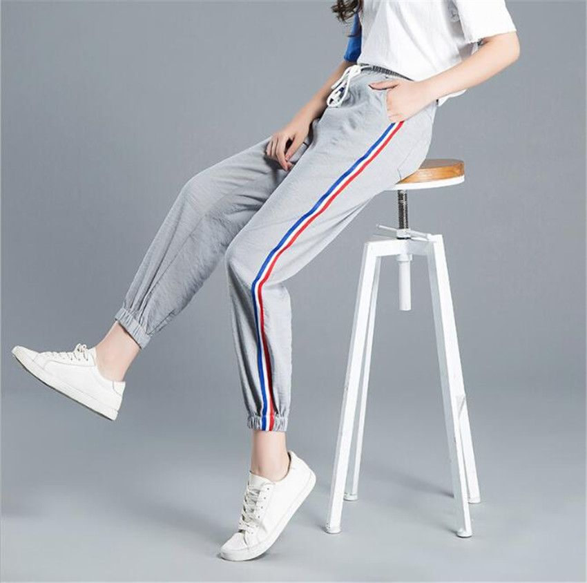 MLCRIYG 2018 new cotton female stripes nine loose lacing closing Haren pants