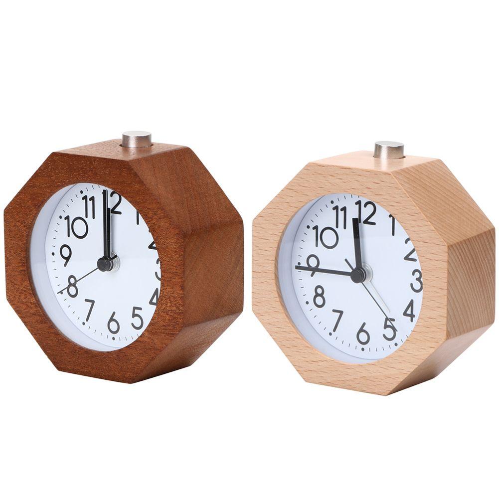 Creative Wooden Digital Clock Circular no Ticking Snooze Backlight Digital Desk Clock Rechargeable Alarm Clock