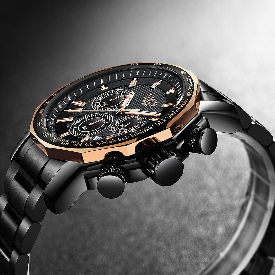LIGE Männer Uhr Mode-Business Quarz Große Zifferblatt Uhr Alle Stahl Top Marke Luxus Wasserdichte Sport Uhren Relogio Masculino
