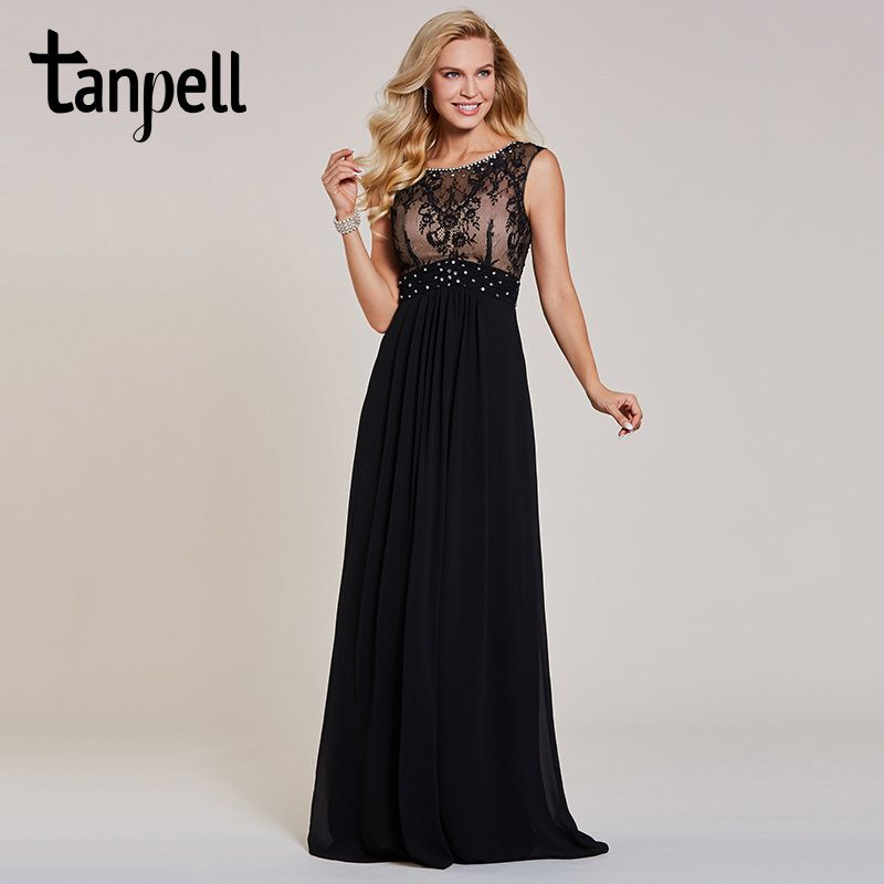 Tanpell beaded long evening dresses black scoop cap sleeves floor length a line gown cheap women lace prom formal evening dress