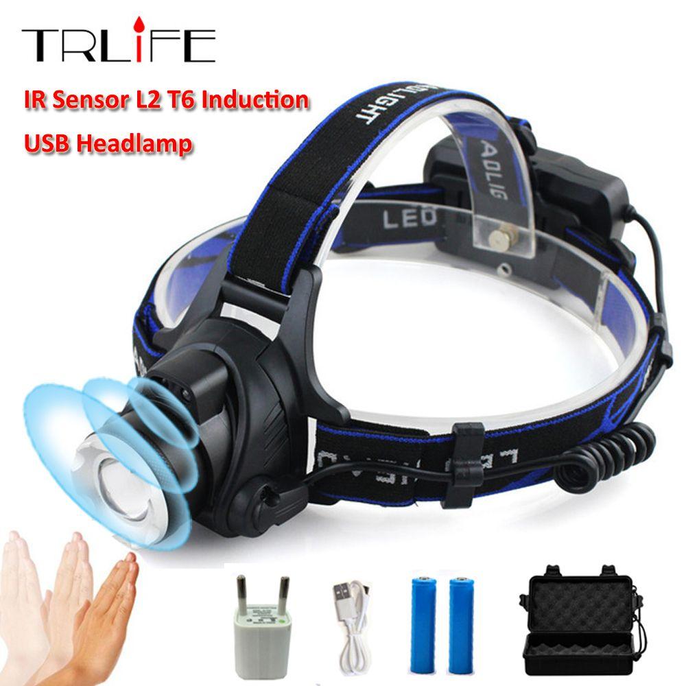10000 Lums capteur infrarouge Phare USB Rechargeable Par Induction led Projecteur L2/T6/Q5 led lampe frontale Lampe Lanterne 18650 Batterie de pêche