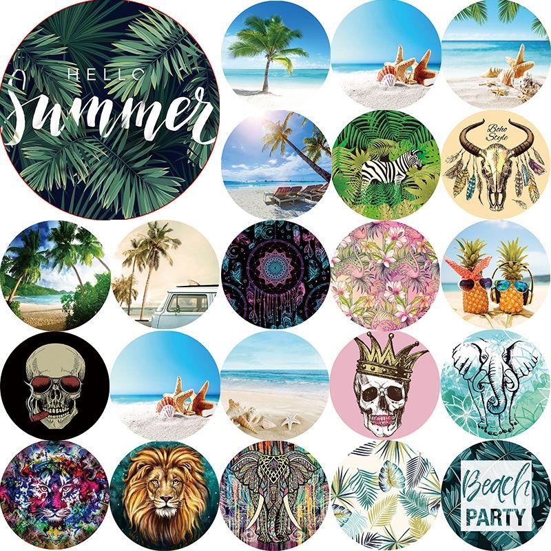 Été boho style serviette plage animaux mandala mer plage paysage femmes serviette de plage cercle rond serviettes de plage taille 1500*1500mm