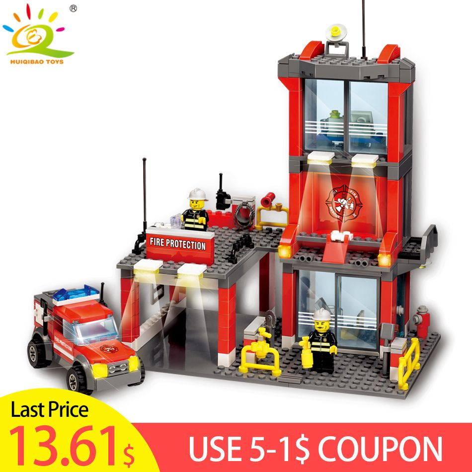 300pcs City Fire Station set Building Blocks Firefighter figure Compatible legoing city Truck Enlighten Bricks Toys for Children