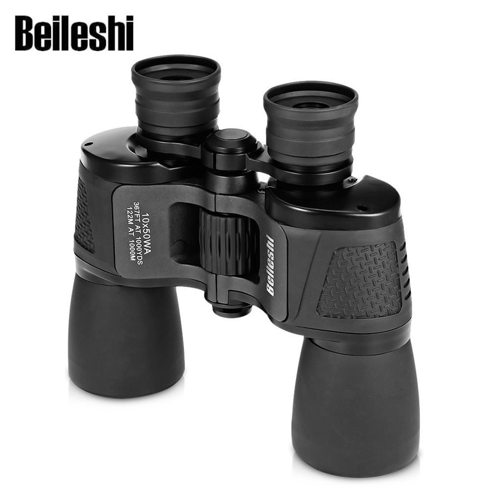 Beileshi Binocular 10X50 HD Vision Wide-angle Prism Folding Binocular Outdoor Professional Hunting Telescope for Travel Concert